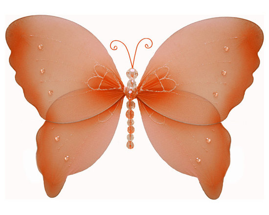 Bugs-n-Blooms - Hanging Butterfly Small Orange Crystal Nylon Butterflies Wall Ceiling Decoration - Hanging Crystal Butterfly - Beautiful nylon hanging kids wall or ceiling decor, baby decoration, childrens decorations. Ideal for Baby Nursery Kids Bedroom Girls Room. This nylon butterfly has sequins, pretty beaded body & color matched antennas. This pretty butterfly decoration is made with a soft bendable wire frame. Beautiful 3D hanging nursery, bedroom, birthday party, baby shower or wedding decor. Includes a piece of fishing line and hoop for easy hanging to any wall or ceiling (removable if desired). Sold individually. Visit our store for more great items. Additional sizes are available in various colors, please see store for details. Please visit our store on 'How To Hang' for tips and suggestions. Please note: Sizes are approximate and are handmade and variances may occur. Price is per each butterfly (1) piece