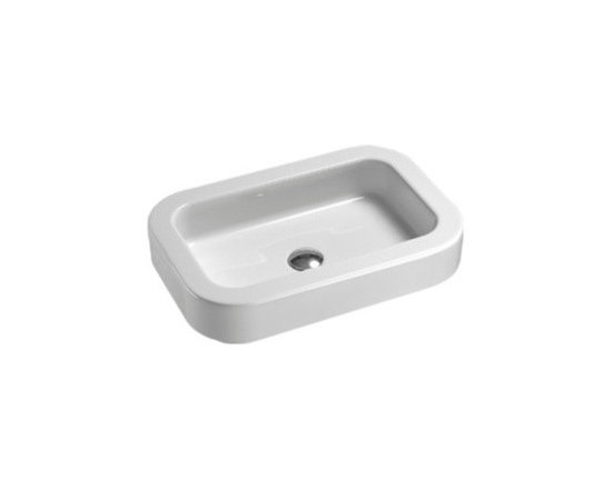"GSI - Modern Curved Rectangular Vessel or Self Rimming Bathroom Sink - Designed and manufactured in Italy by GSI. Modern rectangular white ceramic bathroom sink with curved edges. Beautiful above counter vessel or self rimming sink comes with no faucet holes and without overflow. Sink dimensions: 23.60"" (width), 5.50"" (height), 15.70"" (depth)"