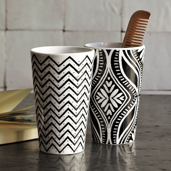 Graphic Porcelain Tumblers modern-everyday-glassware