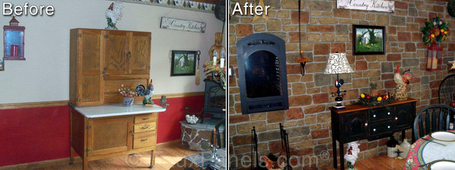 Country Kitchen Accent Wall Before And After Rustic