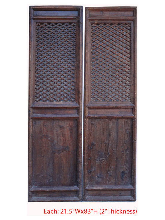 Pair Tall Chinese Antique Geometry Pattern Hand Carving Screen Wall Panel - This is a pair of Chinese antique door panels which is made of solid elm wood. It was used as door long time ago in China, right now, people use it for wall screen deco.