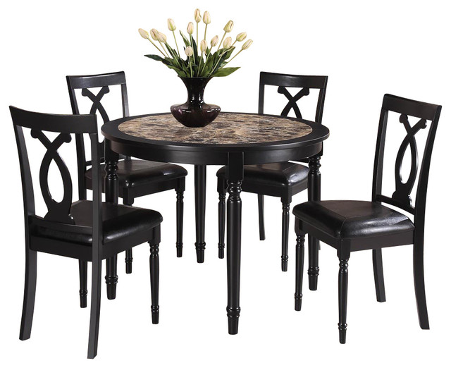 Homelegance piper 5 piece dining room set in rich black for Traditional black dining room sets