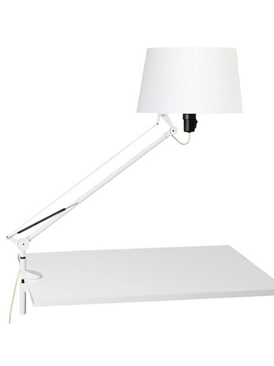 Tango Lighting - Tango Lektor Clip On Lamp - Lektor Clip On Lamp by Carpyen Carpyen Lektor Clip On Lamp was designed by Gabriel Teixido in the year 2010. Carpyen Lektor Clip On lamp has direct and diffuse light. This lamp is fully adjustable and features a movable arm. It has a switch on the lampholder. Lektor Clip On Lamp has a white polycarbonate shade with a white, orange, stone grey, or moss green metal structure.