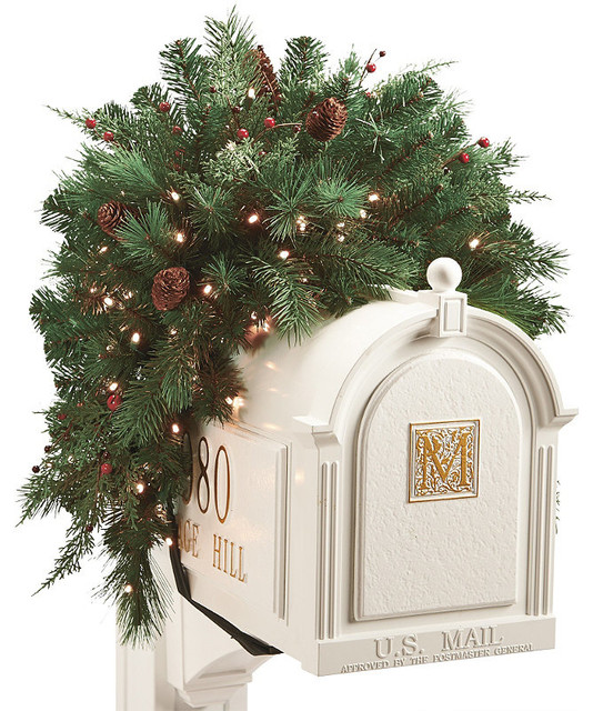 White pine cordless mailbox christmas swag christmas decor Traditional outdoor christmas decorations