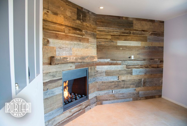 Wall Covering Mixed Tobacco Barn Wood With Hand Hewn Oak
