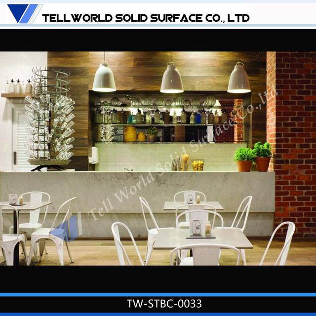 Tell world first class solid surface commercial bar for Modern coffee bar design