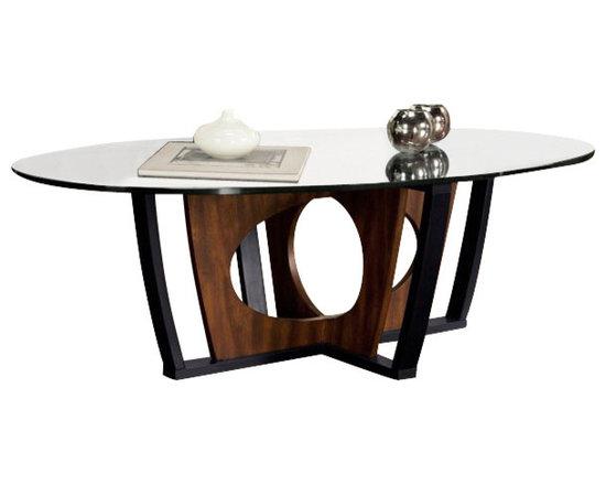 Armen Living - Armen Living Decca Oval Glass Top Coffee Table in Espresso - Armen Living - Coffee Tables - LC6207COBL