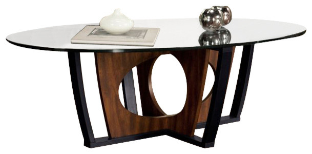 Armen Living Decca Oval Glass Top Coffee Table in Espresso transitional-coffee-tables