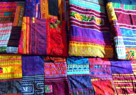 Hmong Hilltribe patchwork and embroidered throw eclectic-quilts