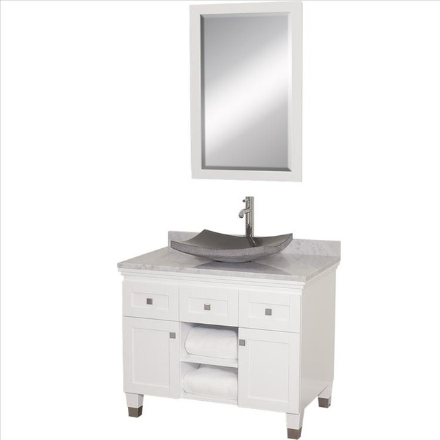Wyndham premiere vanity with white marble top for Marble top console sink