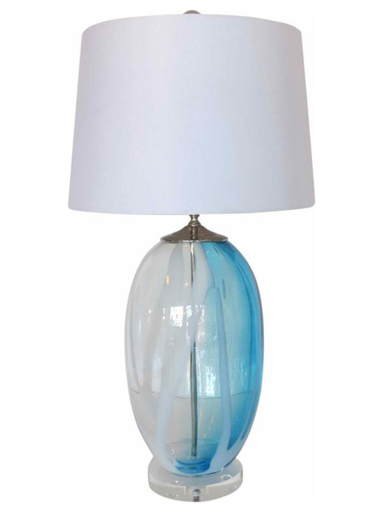Large Clear Blown Glass Lamp - Elegant and colorful Vintage Inspired Blown Glass Lamp on Lucite base with new nickel hardware, socket and wiring. Harp and finial included, no shade. Glass is heavy with richly detailed swirls of azure blue and white on a clear background.