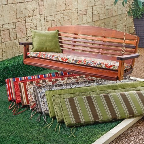 Atrium 53 x 14 Porch Swing and Glider Cushion Landry Stripe Malt contemporary-outdoor-cushions-and-pillows