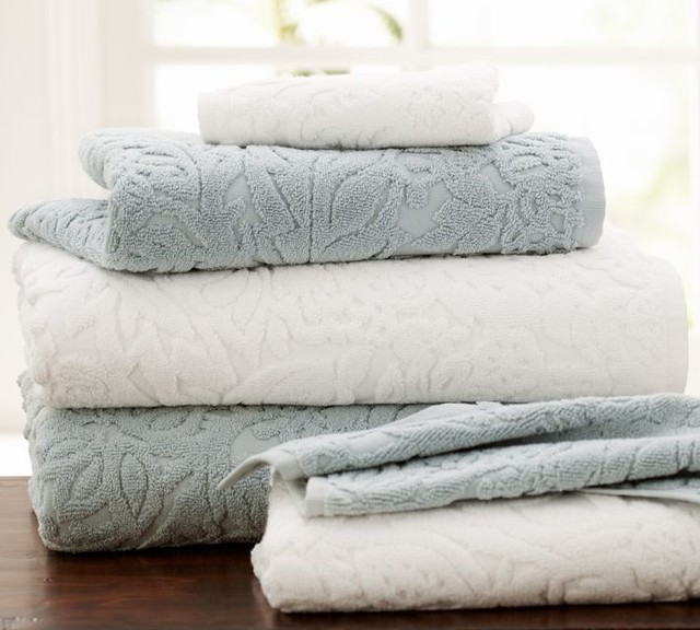 Isaac Floral Sculpted Bath Towels Traditional Bath Towels By Pottery Barn