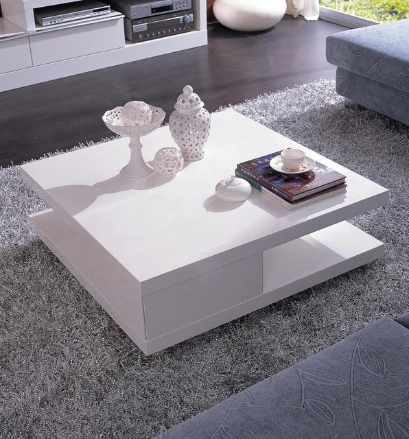 Modern White Square Coffee Table With Shelf Mito Contemporary Coffee Tables San Francisco