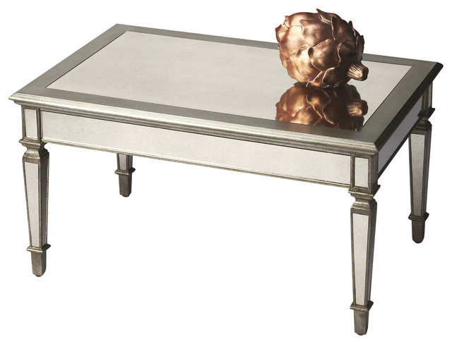 Antique finished rectangular mirrored cocktail table for Mirrored rectangular coffee table