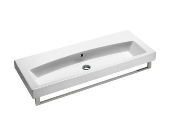"GSI - Stylish Rectangular Wall Mounted, Vessel, or Self Rimming Bathroom Sink by GSI - GSI designs and makes this sink in Italy. This stylish contemporary bathroom sink is made of white ceramic and includes overflow. Sink has option for a single faucet hole, no hole, or 3 holes. Sink can be installed as wall mounted, vessel, or self rimming. Sink dimensions: 41.30"" (width), 6.30"" (height), 16.70"" (depth)"