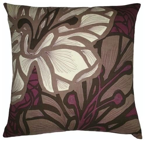 Decorative Pillows Eggplant : Flora 20 x 20 Pillow in Brown/Eggplant - Modern - Decorative Pillows - by AllModern