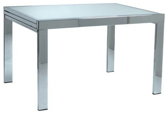 Eurostyle Duo Extension Dining Table w/ Chrome Base & Frosted Glass Top modern-dining-tables
