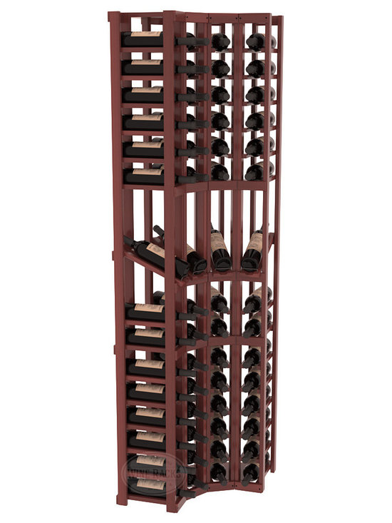 Wine Racks America® - 4 Column Display Cellar Corner in Redwood, Cherry Stain + Satin Finish - Unique corner wine racks obtain maximal storage capacity with style. Display 4 coveted vintages without sacrificing proper wine storage. We back the quality of every rack with our lifetime warranty. Designed with emphasis on functionality, these corner racks fit seamlessly into our modular line of wine racks.