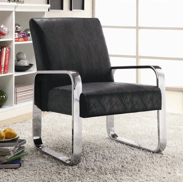 Silver Metallic Vinyl Accent Chair: Black Vinyl Modern Accent Chair With Silver Chrome Arms