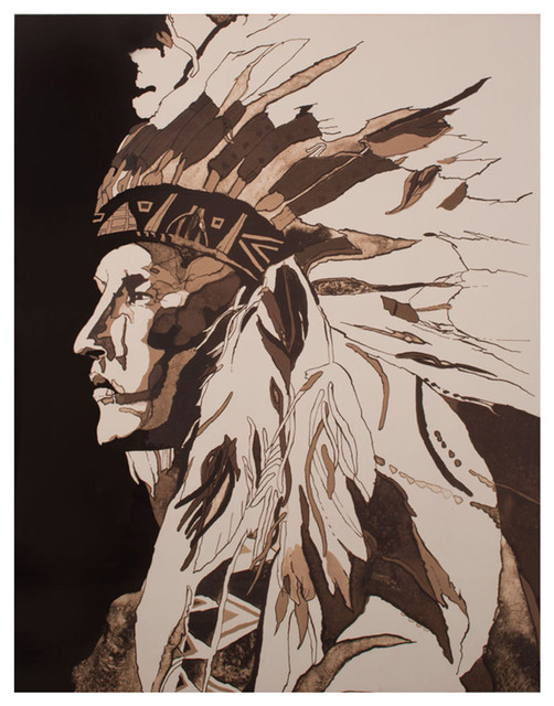 American Indian Portrait Chief Rustic Lodge Water Color Wall Art - Unframed rustic-prints-and-posters