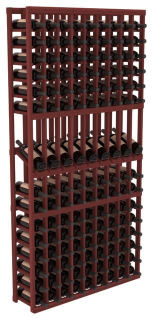9 Column Display Row Wine Cellar Kit in Premium Redwood, Cherry contemporary-wine-racks