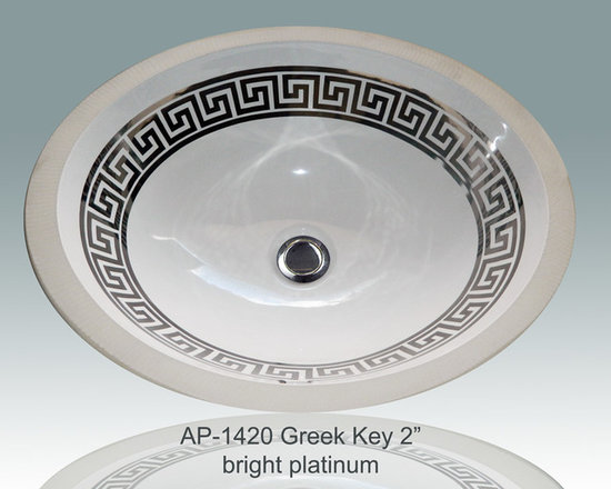 "Hand Painted Undermounts by Atlantis Porcelain - ""GREEK KEY 2"" Shown on AP-1420 white Monaco Medium undermount 17-1/4""x14-1/4""available on bright gold or platinum and burnished gold or platinum on any of our sinks."