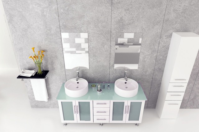 "59"" White Double Lune Vanity With Glass Top modern"