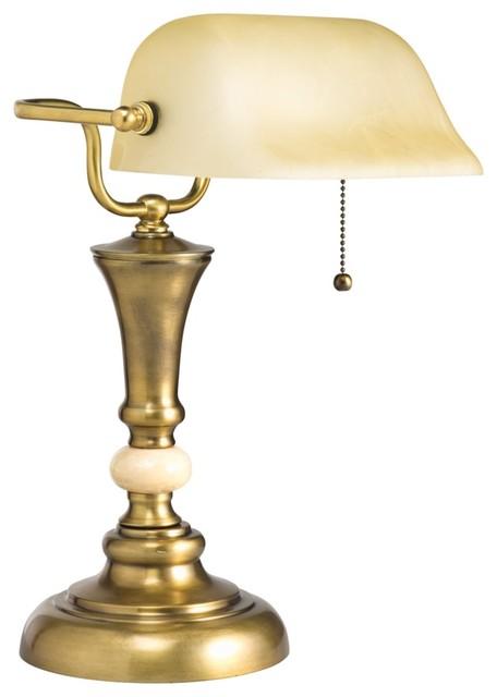 traditional kirketon bankers desk lamp in aged brass. Black Bedroom Furniture Sets. Home Design Ideas