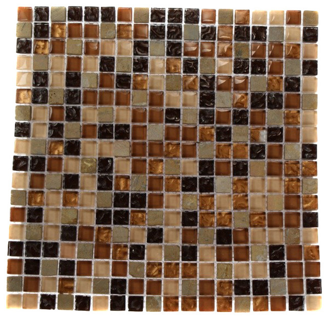 Golden Road Blend Squares Marble & Glass Mosaic Tile contemporary-mosaic-tile