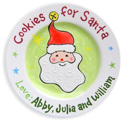Children's Christmas Tableware: Santa's Cookies Personalized Plate modern-christmas-decorations