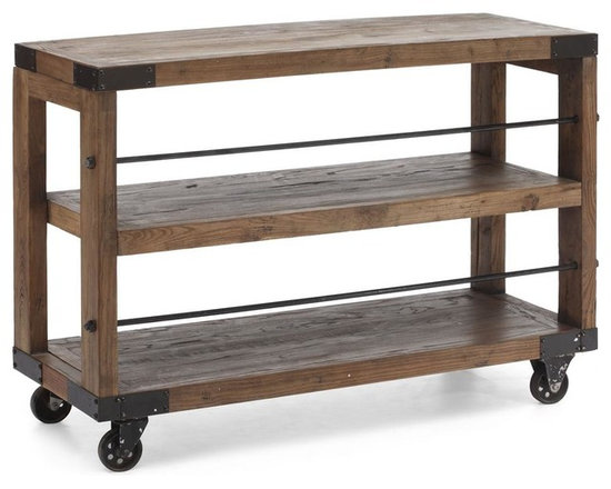 Zuo Modern - 47 in. Dining Server in Distressed Natural Fi - Four antique metal wheels. Warranty: One year. Made from elm wood. Assembly required. 47 in. W x 15.7 in. D x 32.7 in. H (66 lbs.)