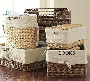 Savannah/Havana Underbed Small Basket Liner, Flax traditional-baskets