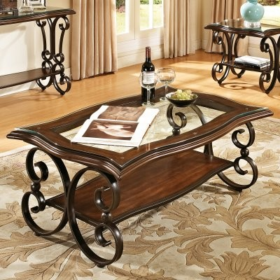 Steve Silver Hayward Rectangle Cherry Wood and Glass Coffee Table modern-side-tables-and-end-tables