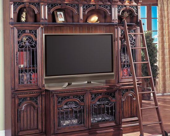 Barcelona Entertainment Library Space Saver Wall w/ Ladder in Antique Walnut - Photo by Parker House, available @ http://www.dynamichomedecor.com/Parker-House-BAR-4PC-SS.html