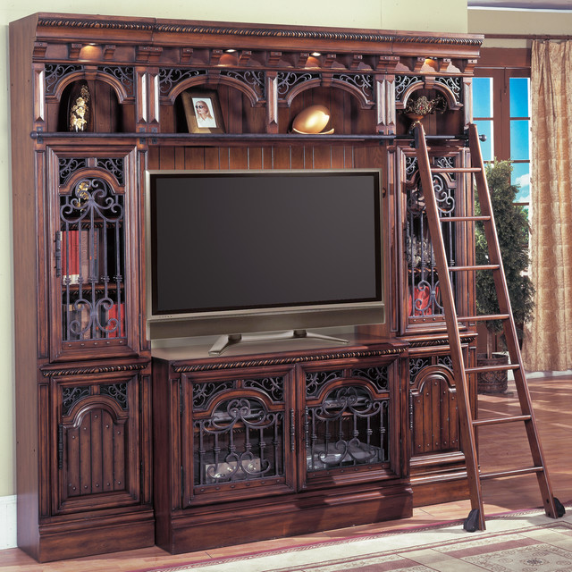 Barcelona Entertainment Library Space Saver Wall W Ladder In Antique Walnut Traditional