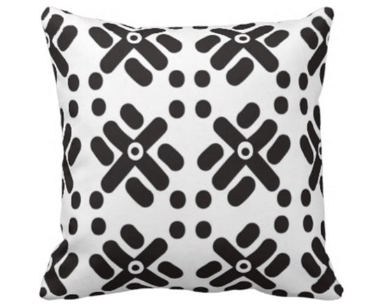 """Teku"" Print Black and White Pillow Design -"