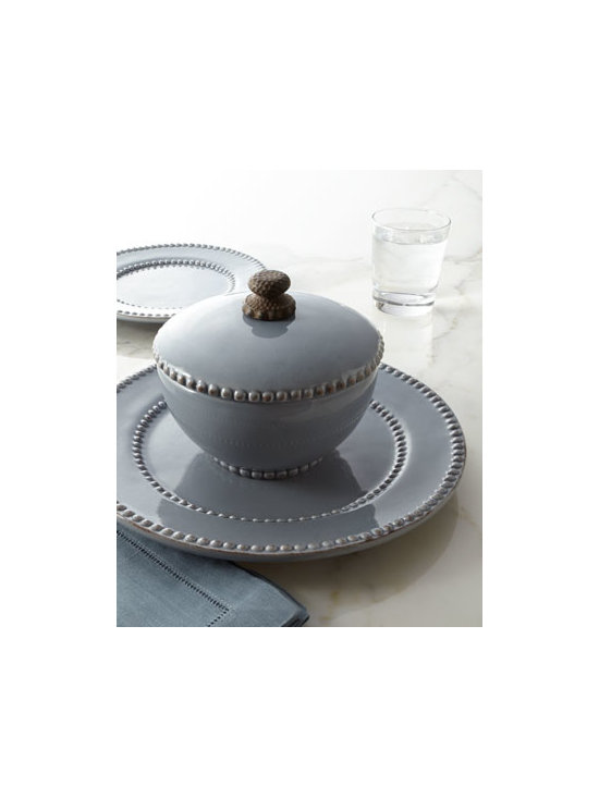 "GG Collection - GG Collection ""Livingstone"" Dinnerware - Beautifully functional, this striking dinnerware features a solid ground punctuated by textural beaded borders. Handcrafted of ceramic. Hand painted. Dishwasher and microwave safe; bowl lid not microwave safe. Plates sold in sets of four; covered bo..."