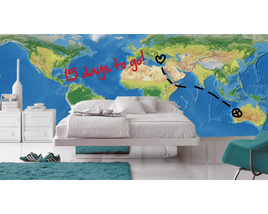 Writable wall decals - A world map mural that has nothing standard about it! This cool self-adhesive product comes with a dry erase finish so that it can be written and erased onto with dry erase markers.