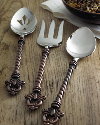 GG Collection Three-Piece Fleur-de-Lis Hostess Set traditional flatware