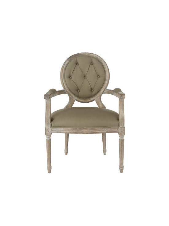 """Horchow - Two """"Blanchett"""" Side Chairs - Relaxed dining furniture lends an air of calm and grace to the dining room. Two-tone dining table is handcrafted of hardwood solids and veneers. 54""""Dia. x 30""""T. Boxed weight, approximately approximately 281 lbs. Chairs are handcrafted of oak with c..."""