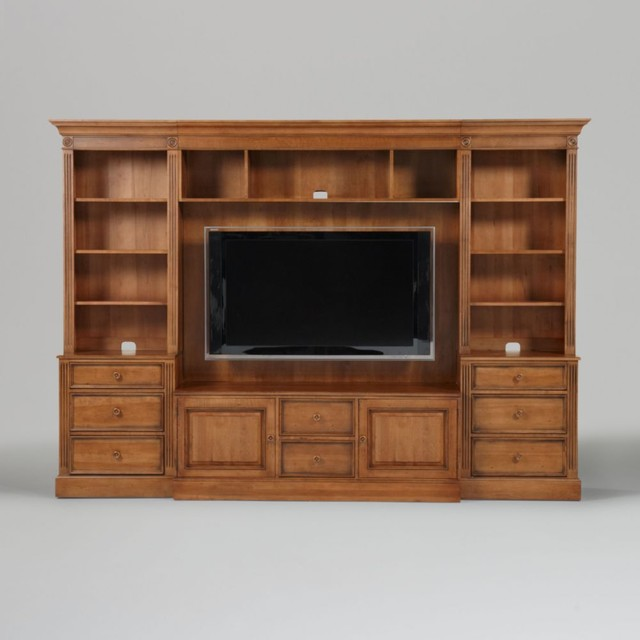 new country by ethan allen wagner media center with bookcases traditional-media-storage