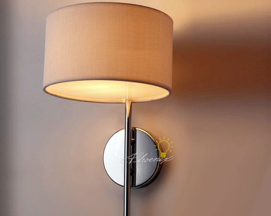 Fabric Wall sconce in polished Chrome Fininsh - size:D9.05'' X H16.14''