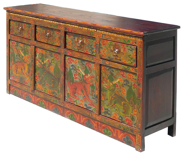 Tibetan Antique Dragon Painting Buffet Table TV Stand Cabinet