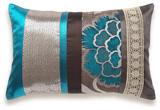 Teal Blue Chocolate Brown Taupe Silver Beige Lumbar Pillow