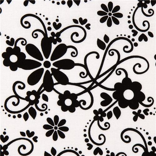 white Riley Blake fabric with flowers & embellishments fabric