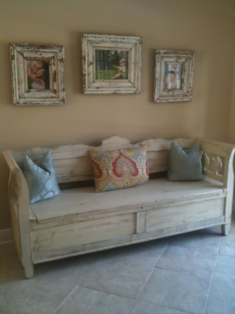 Antique storage bench custom overpainted in white accent-and-storage-benches
