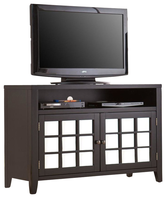 Carter Mirrored Tv Media Stand In Black Contemporary