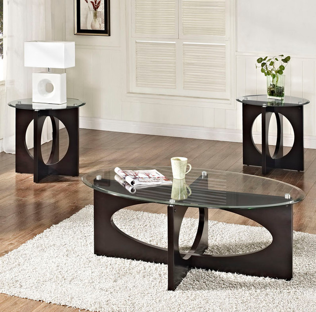 Top Coffee Table Set In Dark Merlot Contemporary Coffee Table Sets