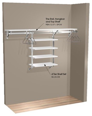 Arrange A Space 71 in. Single Hang Wall Closet with Shelves contemporary-closet-organizers